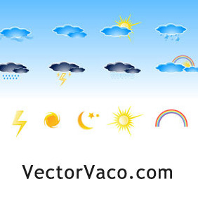 Vector Weather Icons - Free vector #213001