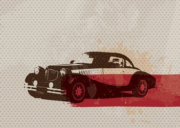 Retro Car Card - vector gratuit #213081