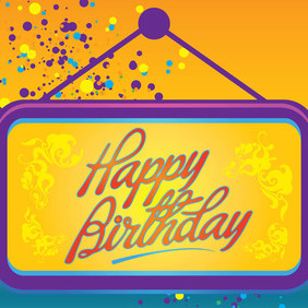 Happy Birthday Card Vector - Free vector #213601