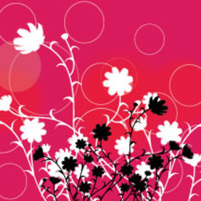 Black Flowers In Red Background - vector gratuit #213981