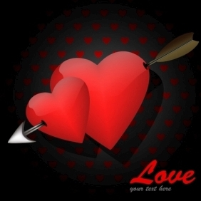 Valentine Card With Arrow - Free vector #214201
