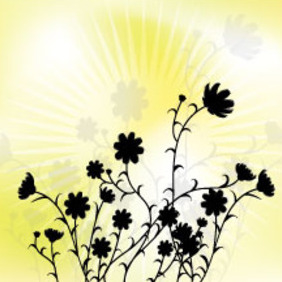 Black Flowers In Yellow Design - vector gratuit(e) #214311