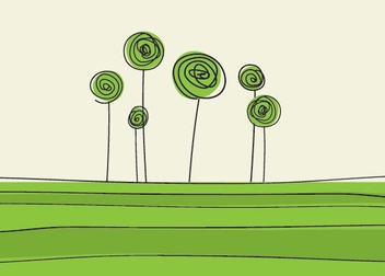 Green Flowers - vector #214431 gratis