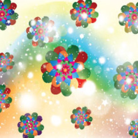 Colored Flowers In Abstract Shinning Vector - Free vector #214641
