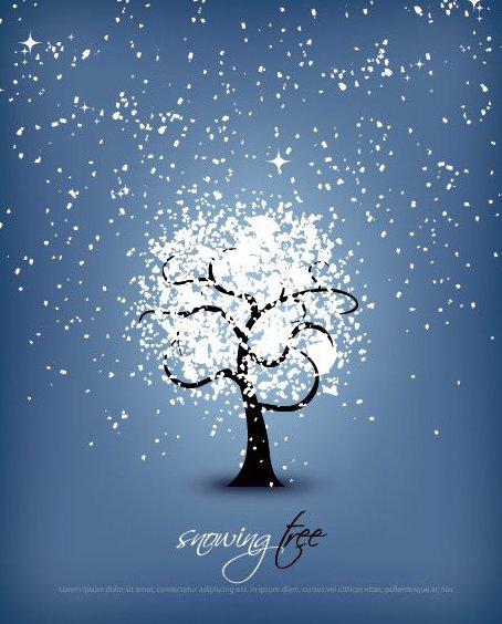 Árvore a nevar - Free vector #214761