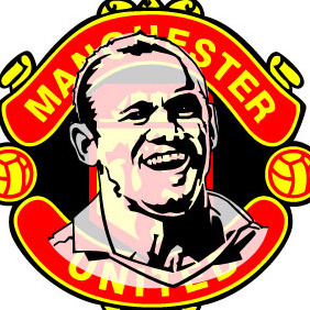 Man Utd Logo And Wayne Rooney Portrait - Free vector #215341