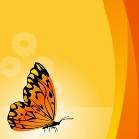 Vector Floral Background With Butterfly - Free vector #216071