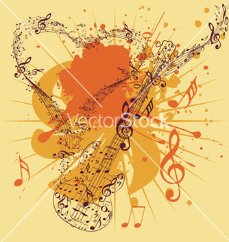 Free music poster with guitar3 vector - Free vector #216181
