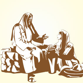Jesus Meets A Woman - Free vector #216481