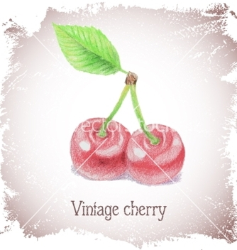 Free vintage card with cherry vector - Free vector #216521
