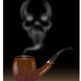 Pipe Smoke With Skull - vector gratuit #216611