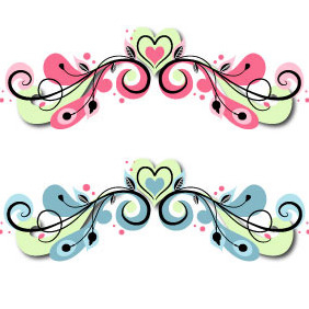 Swirly Heart Scroll - vector gratuit #217021