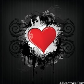 Heart On Grunge Backgrounds - vector gratuit #217281