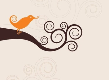 Swirly Bird - vector gratuit #217381