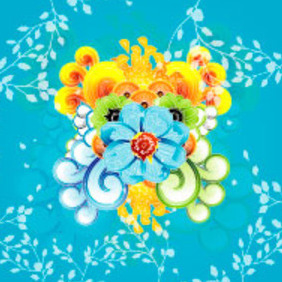 Flower Vector Art Illustration - Free vector #217551
