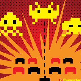 Space Invaders Vector - Free vector #217741