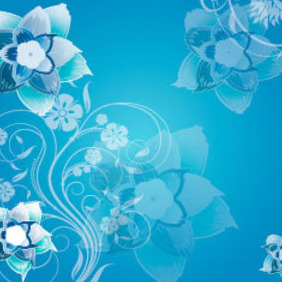 Blue Flowers Swirly Vector Art Background - vector #217901 gratis