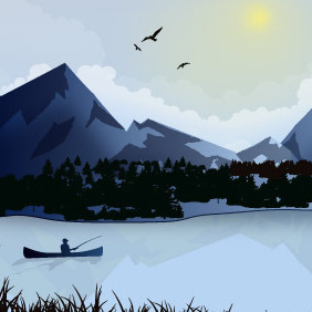 Fisherman On Lake Winter - vector #217921 gratis