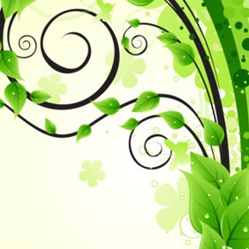 Design Element With Green Leaves - vector gratuit #218341