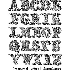 Decorative, Ornamental Letters Of The English Alphabet - Free vector #218431