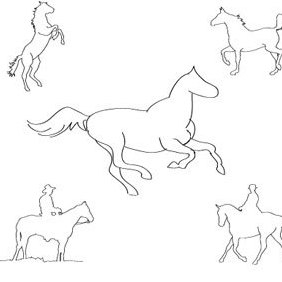 Five Horses Sketch - vector gratuit #219331