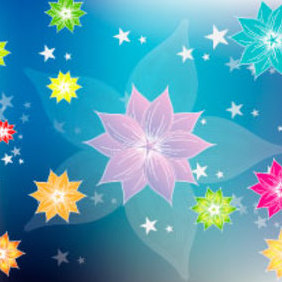 Colorful Floral Design Graphic - vector gratuit #219491