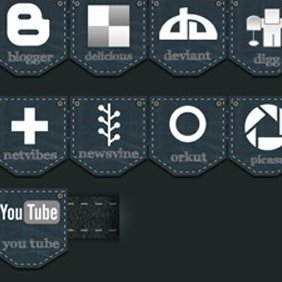 Jeans Social Media Icon Pack - Free vector #221361