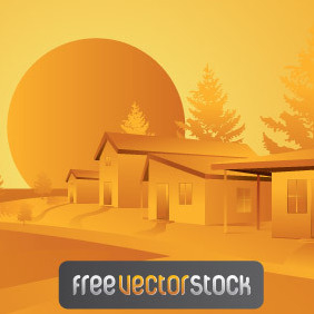 Orange Landscape Vector - Free vector #221521