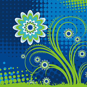 Flower In Blue - vector gratuit #222081