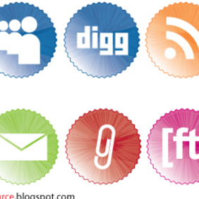 Social Bookmarking Icons badges - Free vector #222201