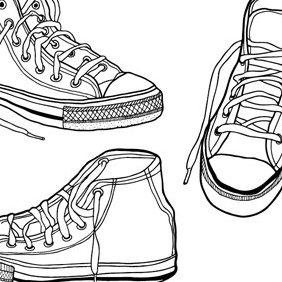 Hand Drawn Illustrated Sneakers - vector gratuit(e) #222991