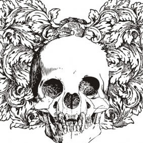 Floral Skull Vector Illustration - Free vector #223621