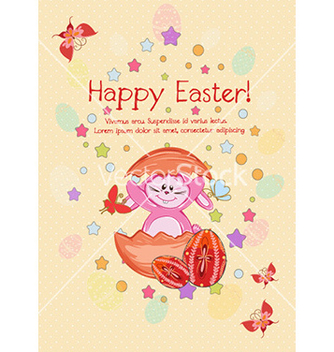 Free bunny with eggs vector - Kostenloses vector #225241