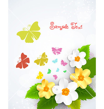 Free butterflies with floral vector - Free vector #226021