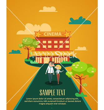 Free cinema building and couple vector - vector gratuit #227151
