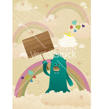 Free cute monster with wooden sign vector - Kostenloses vector #228171
