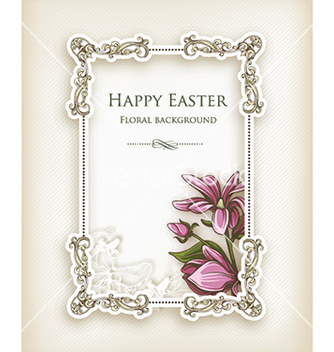 Free easter with floral frame vector - Kostenloses vector #228401