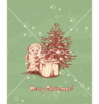 Free christmas with tree and gift vector - vector gratuit #228841