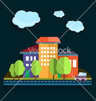 Free urban landscape color flat design vector - бесплатный vector #233121