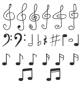 Free set of hand drawn music notes vector - Free vector #233141