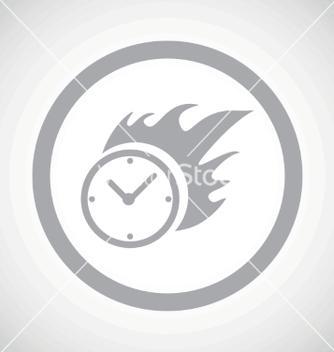 Free grey burning clock sign icon vector - Free vector #234291