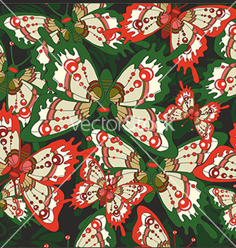 Free pattern with butterflies on a black background vector - Free vector #234631