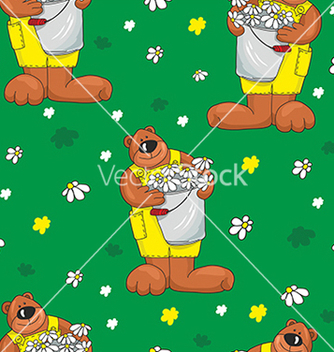 Free pattern with bears on a green background vector - Free vector #234651
