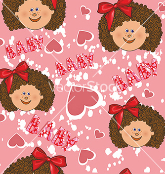 Free pattern for a girl on a pink background vector - Free vector #234671