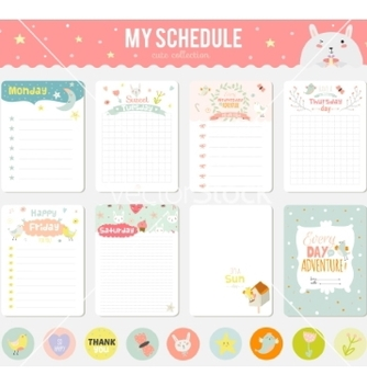 Free set of cards notes and stickers with cute vector - vector gratuit #234751