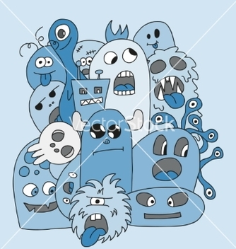 Free funny cartoon monsters card vector - Free vector #235001