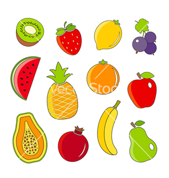 Free organic fresh fruits and berries outline icons vector - Free vector #235051