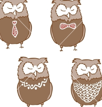 Free set of cute sleepy owls vector - Free vector #235101