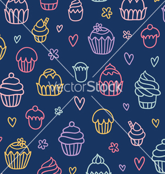 Free cupcakes outlined colorful seamless pattern on vector - Kostenloses vector #235431