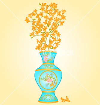 Free azure vase with spring flowers forsythia vector - Free vector #235611